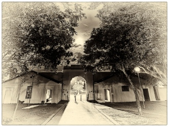 Drostdy Arch by moonlight: Grahamstown Heritage Series