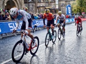 Kevin Geniets and Kaden Groves on Parliament Street Harrogate UCI Road World Championships u23 mens' road race
