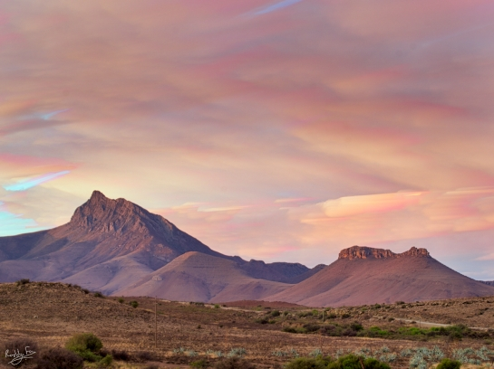 Late sunset colours over Compassberg mountain