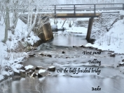 First snow falling on Södra Mariegatan bridge in Falun - Basho's classic haiku
