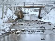 First snow falling on Södra Mariegatan bridge in Falun - Basho's classic haiku