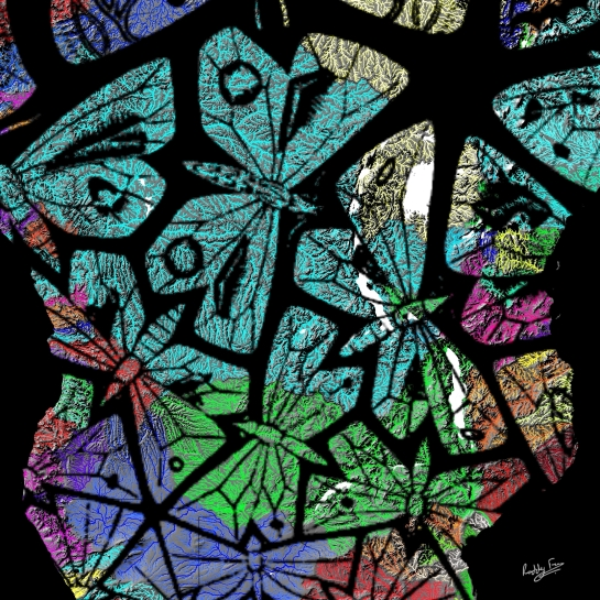 Detail of Escher's Butterflies Migrating Over the Rivers of Africa